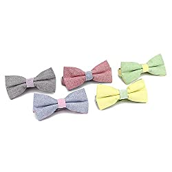 Life Glow Men's Adjustable Cotton Pre Tied Bow Tie Necktie for Wedding, Party, Fashion Shows, Set of 5 by Life Glow
