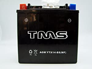 TMS Ytx14-bs Utx14 Gtx14-bs for Honda ATV Foreman Yamaha Kawasaki Suzuki AGM Maintenance Free Battery