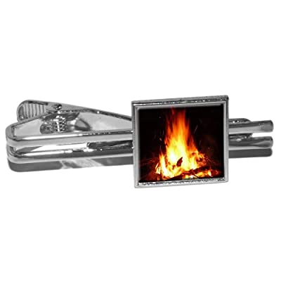 Campfire - Camp Camping Fire Pit Logs Flames Square Necktie Tie Bar Clip Clasp Tack - Silver by Graphics and More