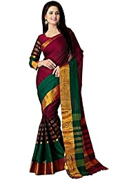 Rangrasiya Women'S Cotton Silk Saree With Blouse Piece(Bs2215_Red_Free Size)