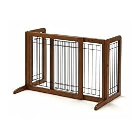 Richell Wood Freestanding Pet Gate, Small, Autumn Matte Finish