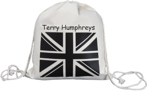 Personalised - Black Union Jack Flag - Canvas Drawstring Rucksack / Backpack