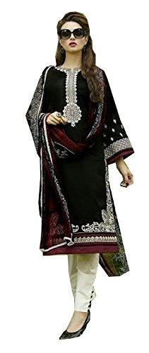 C&H Black Cotton Semi-Stitched Salwar Suits