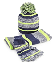 Striped Knitted Hat, Scarf & Gloves Set
