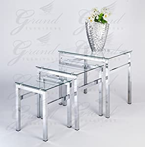 glass nest of tables 3 coffee side coffee lamp table set living room