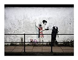 Banksy Stop and Frisk Canvas Art (14X18 Print No Frame)