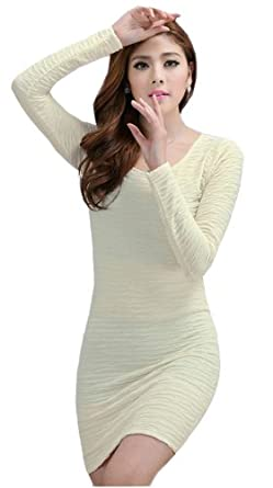 Demarkt New Women's Chic One-piece Design Long Sleeves Dress Round Neck Soft Wave Pleated OL Mini Dress Cocktail Club Party Costume Wear Above Knees Beige White Size M