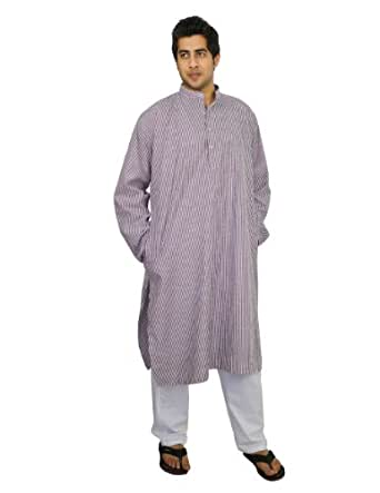 Amazon.com: Handmade Cotton Men's Kurta Pajamas Set Red ...