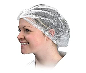 50 Pcs - Disposable Stretchable White Caps - Cover Hair for Cooking & Hygiene By iStoreDirect!