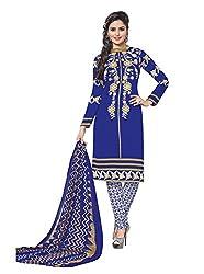 RK Fashion Womens Chiffon Un-Stitched Salwar Suit Dupatta Material ( Rajguru-Rimzim-9042-Blue-Free Size )