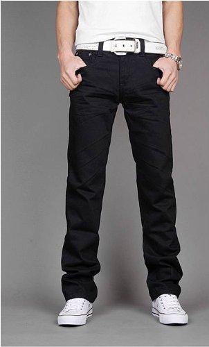 heiße Verkäufe Herren Chinos Slim Fit Cargohose Hose alle Größen (schwarz, 32WX34L)