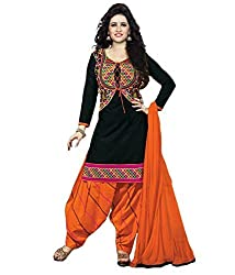 S.B CREATION Women's Printed Unstitched Regular Wear Salwar Suit Dress Material (SB_Ayesha__Black)