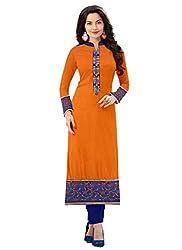Isha Enterprise Women's Orange Colour Semi Stitched Straight Kurti