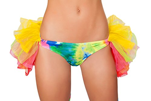 Sexy 1pc Women's Dance Rave Loungewear RAINBOW TYE DYE Hot Shorts w/ Attached Half Petticoat (M/L) (Rainbow Tye Dye Shorts compare prices)