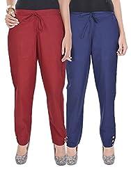 Kalrav Solid Maroon and Indigo Blue Cotton Pant Combo