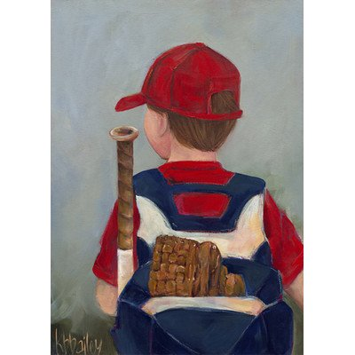 "Oopsy Daisy NB21015 Lil' Slugger by Kristina Bass Bailey Canvas Wall Art, 10"" by 14"" - 1"