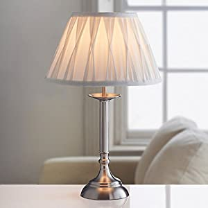 Large Table Lamp Office Desk Oxford Luxury Light Lamp NightLight Bedroom Ivory/Brushed Silver from AJ