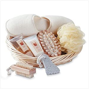 Vanilla Scent Spa Bath Set Slippers Lotion Brush Basket