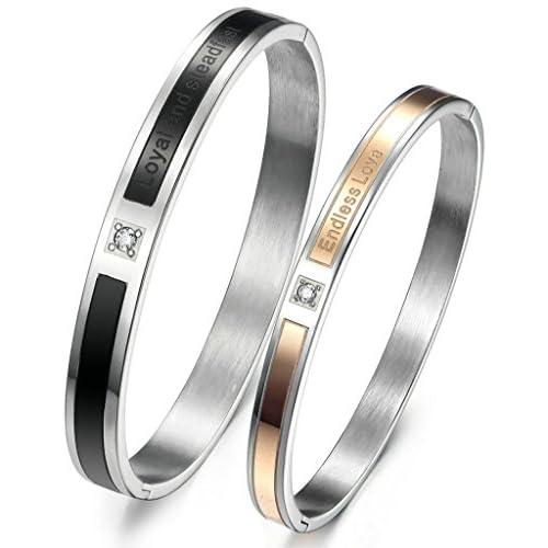 (キチシュウ)Aooazジュエリー カップルファッションブレスレット腕輪 CZダイヤモンド入り LOVE刻印 ブラック、ピンクゴールド 高品質アクセサリー 1ペア