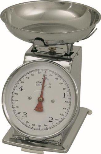 A été 2500050 Balance de cuisine, pèse jusqu'à 5 kg graduation 20 g (CNS, acier Chrome-Nickel)