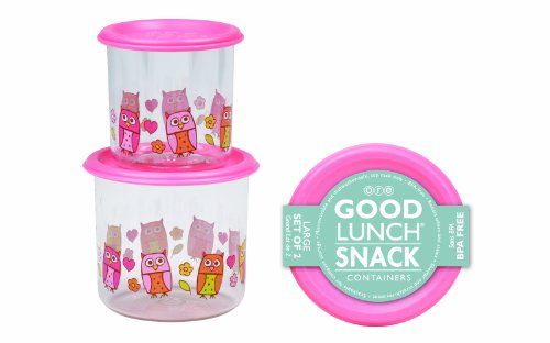 SugarBooger Good Lunch Large Snack Container, Hoot!, 2 Count