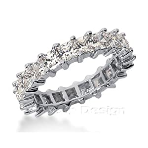 14K White Gold Princess Cut Diamond Eternity Ring: Anniversary (1.75ct.tw, HI Color, SI2-3 Clarity)