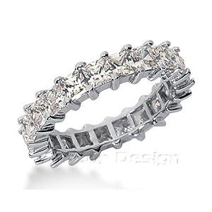 14K White Gold Princess Cut Diamond Eternity Ring: Anniversary (1.75ct.tw, HI Color, SI2-3 Clarity)