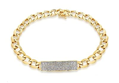 Carissima 9ct Yellow Gold Diamond I.D Bracelet 23cm /9""