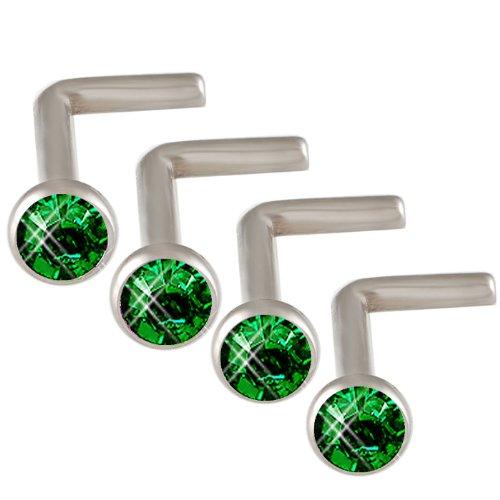 18g 18 gauge 1mm 7mm Steel nose rings studs screws bones bars Emerald Crystals DAGC Body Piercing Jewellery 4Pcs