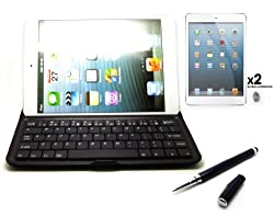 iPad Mini Full QWERTY Keyboard Case Cover - Wireless Bluetooth Version 3.0 for Apple iPAD mini With 2 X Front Screen Protector and Black Aluminium Capacitive Stylus Pen - Black