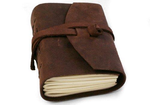 """Diario in Pelle """"Enya"""" Realizzato a Mano,Pagine 100% Cotone, Libero sacca del regalo in tela (9cm x 13cm)"""