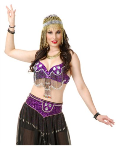 Women's Purple Arabian Belly Dancer Jeweled Beaded Bra And Belt