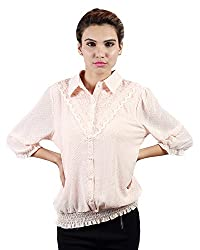 Envy Women's Crepe Chiffon Button Front Tops (03945PINKNA, Pink, Free Size)