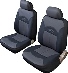 mini cooper celcius universal fit front pair car seat covers in grey and black. Black Bedroom Furniture Sets. Home Design Ideas