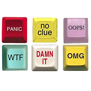 Novelty Computer Keys - WTF Button, Damn It Button, Panic Button, OMG Button, Oops Button, No Clue Button (6 pack)