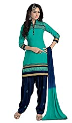 Justkartit Women's Unstitched Turquoise Green & Dark Blue Colour Patiala Salwar Kameez / Modern Colour Work Wear High Quality Patiyala Salwar Suit / Daily Work Wear & Casual Smart Wear Patiala Dress Material (Latest Diwali 2016 Collection)