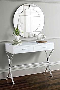 MY-Furniture AURELIA Schminktisch/Konsole aus Weissglas