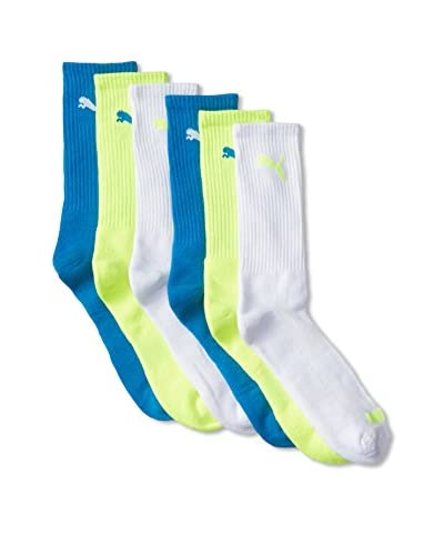 PUMA Men's 1/2 Terry Crew Socks - 6 Pack, Medium Yellow, 10-13 US