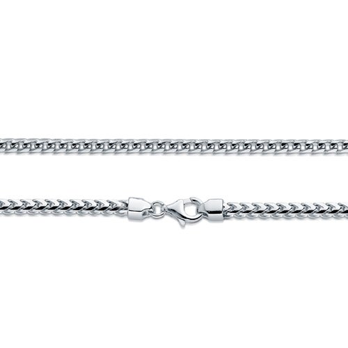 Men/'s Solid Sterling Silver Rhodium Plated 3mm Comfort Franco Chain Necklace