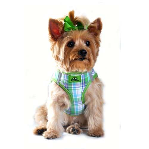 Choke Free Reflective Step In Ultra Harness ? Green & Turquoise Plaid ? All Sizes ? American River (Medium)