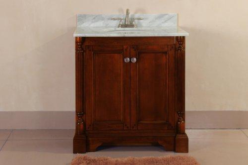 Virtu Usa Rs-11030-Wm-Ao 31-Inch Megan Italian Carrara Marble Single Sink Bathroom Vanity, Antique Oak