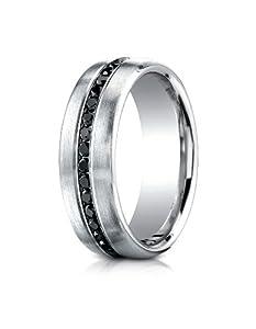 IceCarats Designer Jewelry 18K White Gold 7.5Mm Burnish Set 20-Stone Black Diamond Ring (.40Ct) Size 14