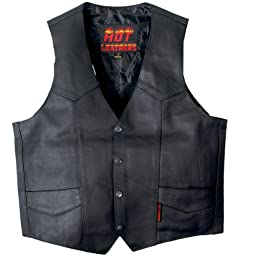 Hot Leathers Heavy Weight Cowhide Motorcycle Leather Vest (Black, XX-Large)