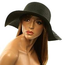 "Summer Bling Bling Crystals Floppy Sun Protection 4-3/8"" Brim Beach Hat Black"
