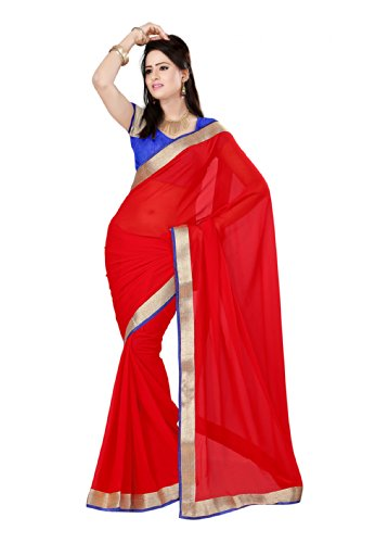 Fabdeal Fashion Red Striped Chiffon Saree-PSFSR9011AL (multicolor)