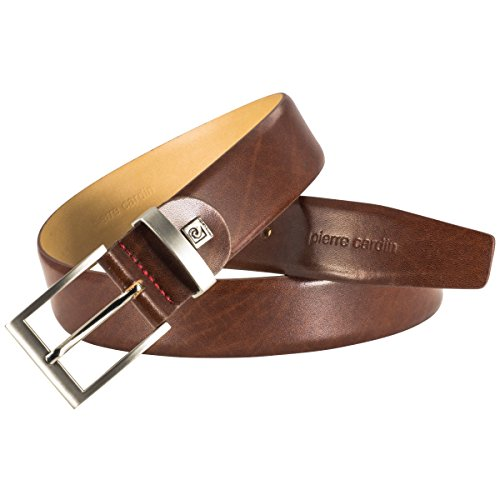 Mens leather belt / Mens belt Pierre Cardin, Größe / Size:120;Farbe / Color:brown