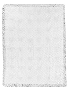 Manual Woodworkers Cuddle Hearts White Cotton Baby Throw Blanket