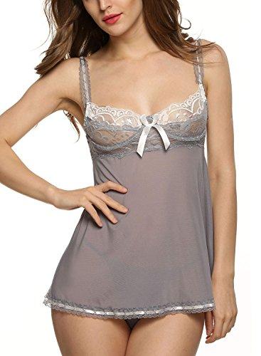 Avidlove Women Strap Backless Sleepwear Lace Nightwear Mesh Babydoll Wire Lingerie Reviews