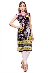 Kurti Studio Festive Black Yellow Unstitched Cotton Kurti Dress Material