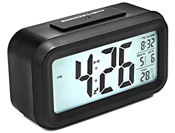 Alarm Clock, Arespark Silent Digital Bedroom Alarm Clock with Date and Temperature Display- Snooze and Large Display- Smart Night Light(white Backlight)- Battery Operated Home and Travel Alarm Clock.
